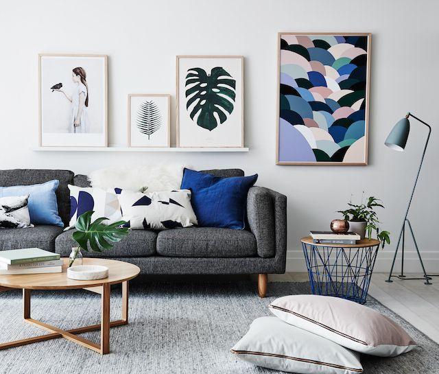 Decoração de sala de estar cinza e azul