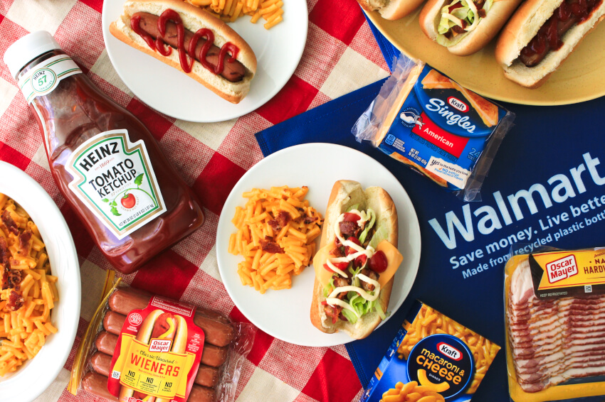 All-American Club Dogs topped with American cheese, lettuce, tomatoes, bacon, and mayo are a fun twist on a summer favorite!  These tasty grilled dogs will be the talk of your next barbecue!  #ad @Kraft @Heinz #hotdogs