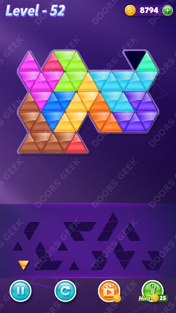 Block! Triangle Puzzle 12 Mania Level 52 Solution, Cheats, Walkthrough for Android, iPhone, iPad and iPod