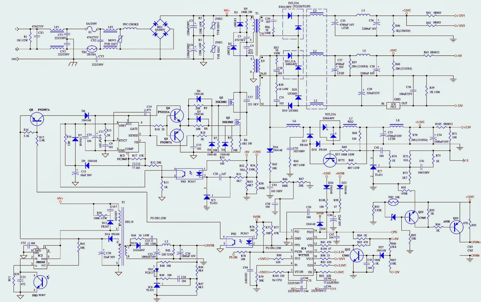300w Atx Power Supply Schematic Diagrams Astec Wiring Diagram Unusual Schematics Photos Electrical Circuit