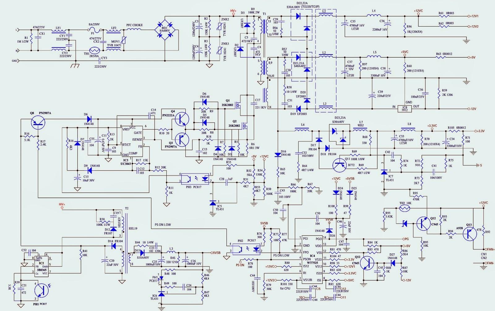 desktop atx power supply schematics utiek atx600t. Black Bedroom Furniture Sets. Home Design Ideas