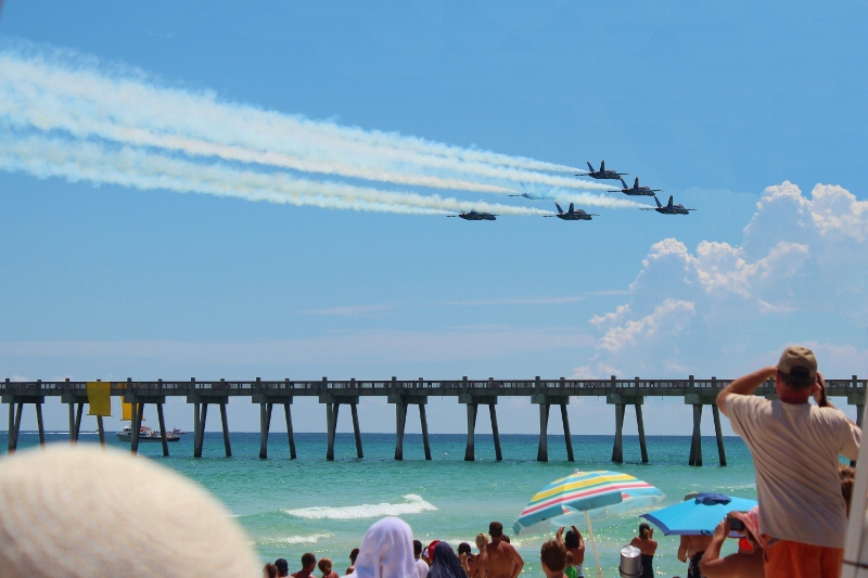 Us Navy Blue Angels Flying Over Pensacola Beach During 2017 Air Show Dress Rehearsal