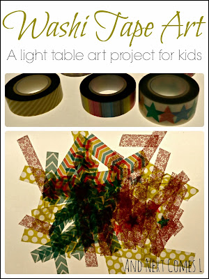 Washi Tape Art: A light table art project for kids from And Next Comes L - part of the Light & Reflections Series