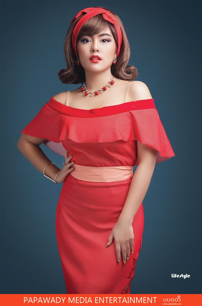 Soe Pyae Thazin Red And Black Outfit Dress Fashion Style -1289