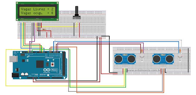 Circuito Controle de vagas sensor ultrasonico HC-SR04