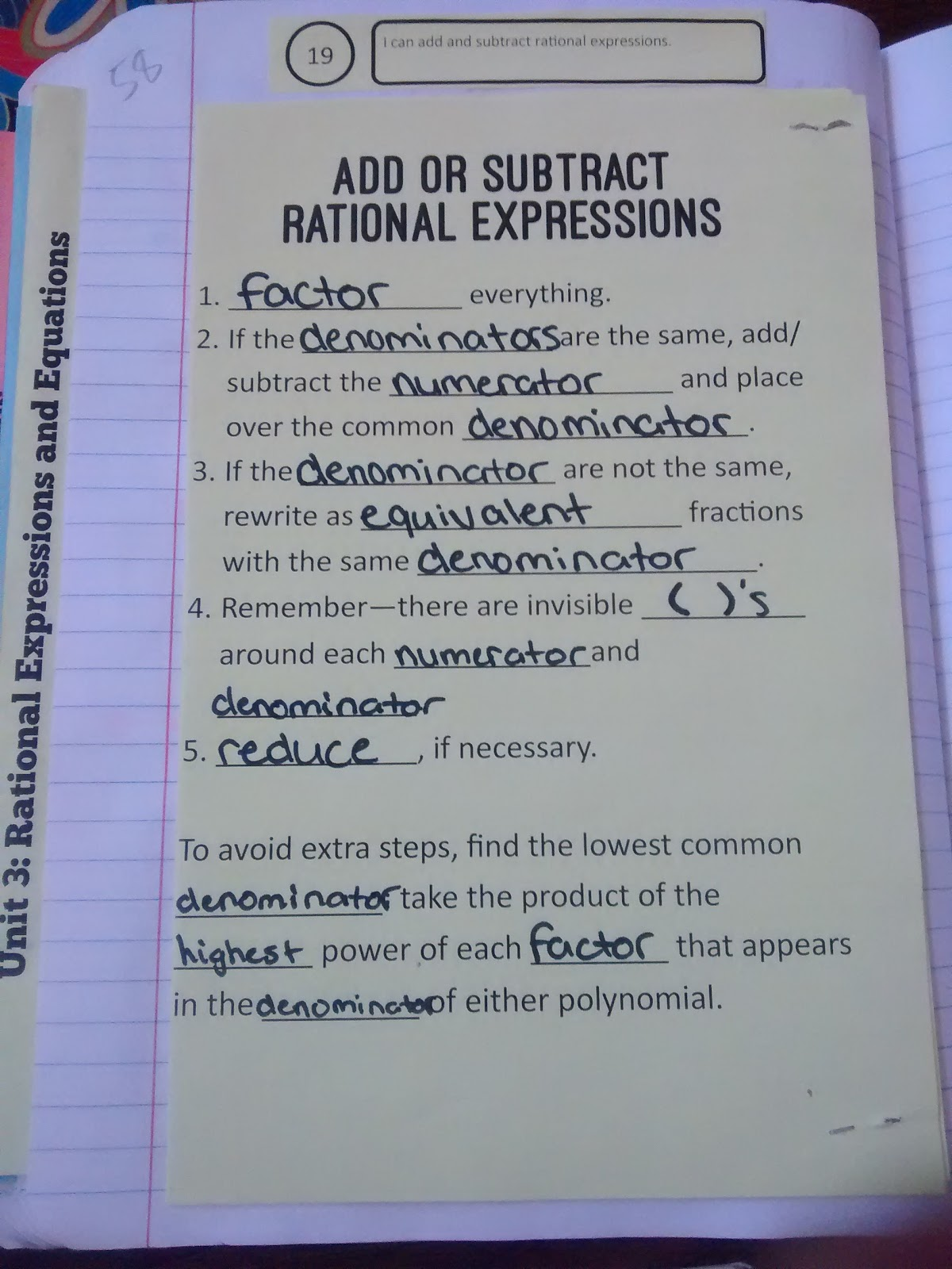 Math Love Rational Expressions Interactive Notebook Pages