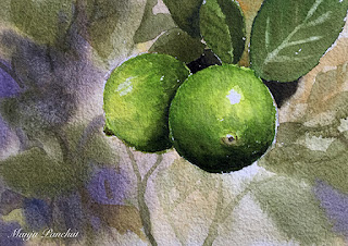 A still life painting of two lemons on Chitrapat handmade paper by Manju Panchal