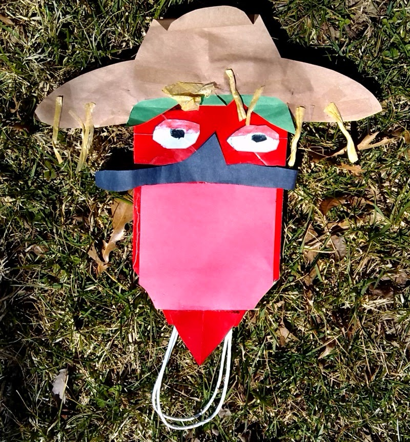 Chili paper bag puppet.