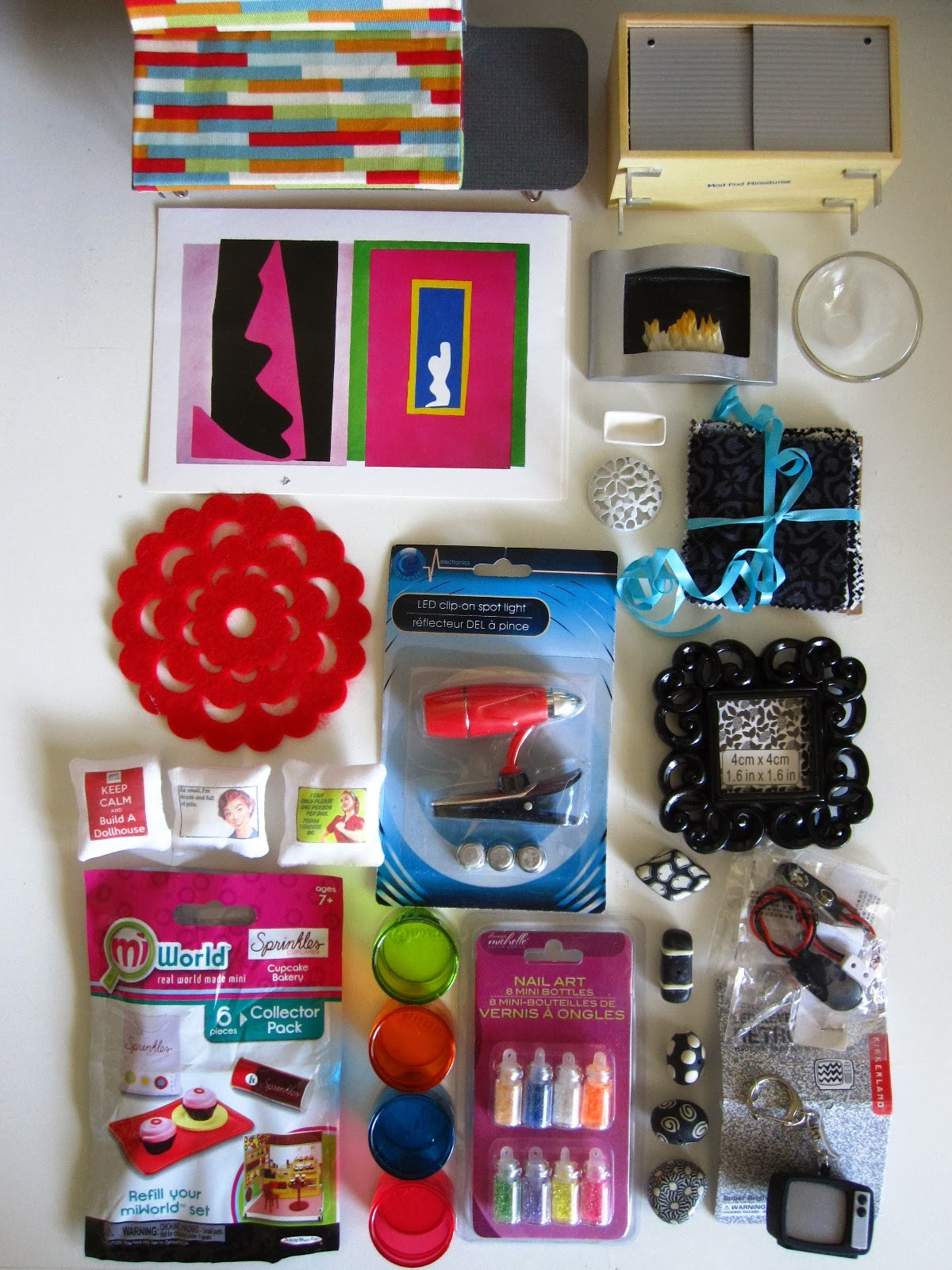 Photograph of all the items received in the Mod Pod Miniatures swap parcel