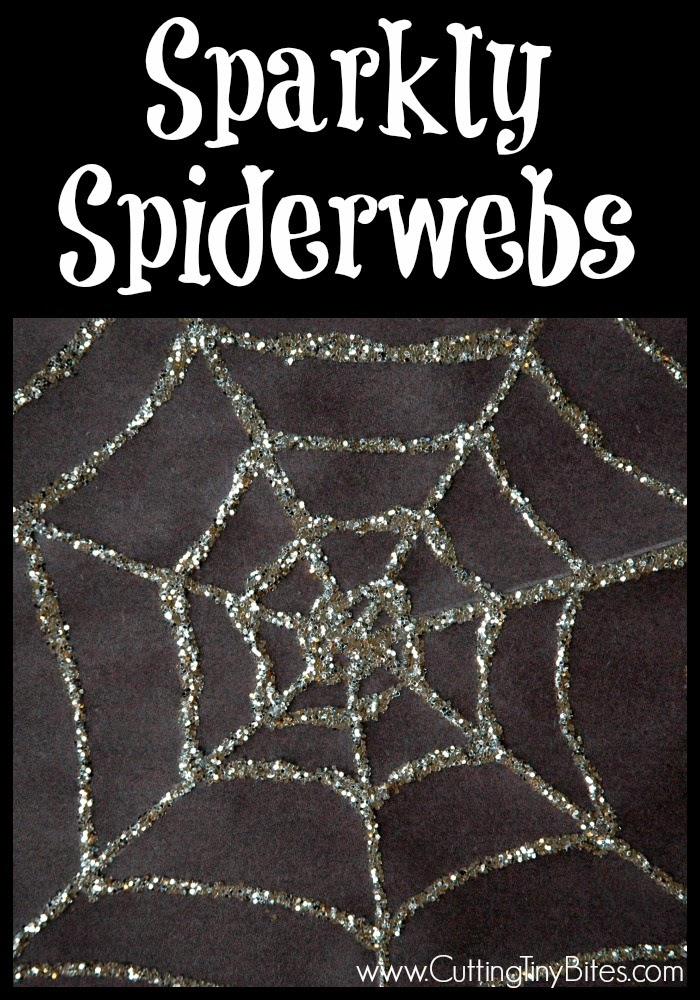 Sparkly Spiderwebs- EASY Halloween craft for kids. Glittery, spooky spiderwebs will delight your preschooler.