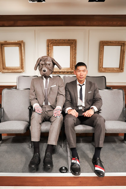 Leo Chan wearing Thom Browne outfit at Barneys with Dog | Asian Male Blogger and Model