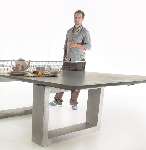 Modern Concrete Amp Steel Ping Pong Table Doubles As Indoor