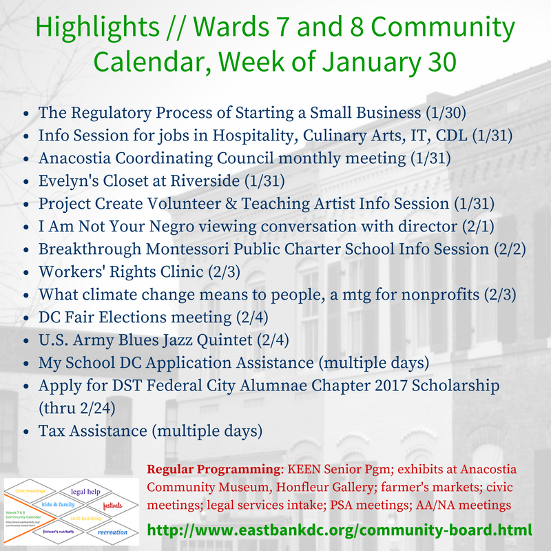Highlights of Wards 7 and 8 Community Calendar week of January 30, 2017