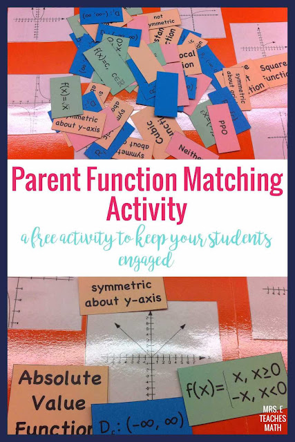 Do you teach parent functions in Algebra 2?  This FREE matching activity is prefect for helping students review before starting transformations.
