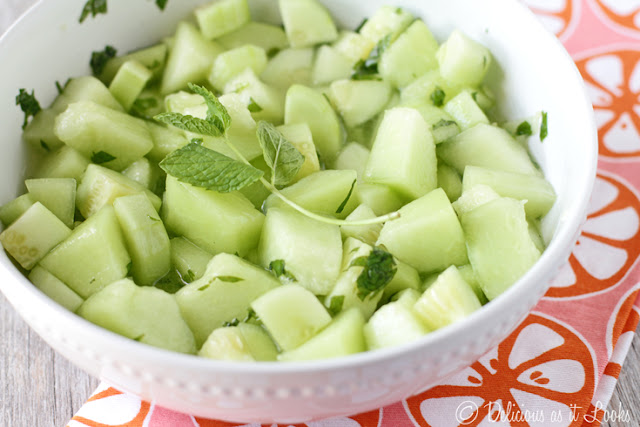 Mojito Cucumber Melon Salad  /  Delicious as it Looks