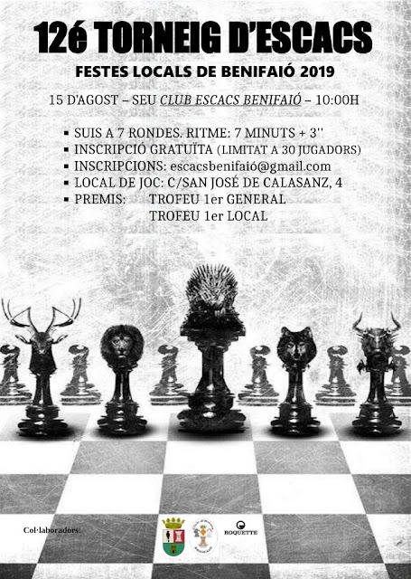 15 AGOSTO: 12é Torneig d'Escacs Festes Locals de Benifaió 2019