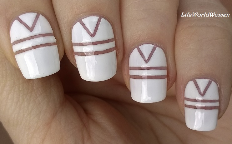 Life World Women Easy White Striping Tape Nail Design