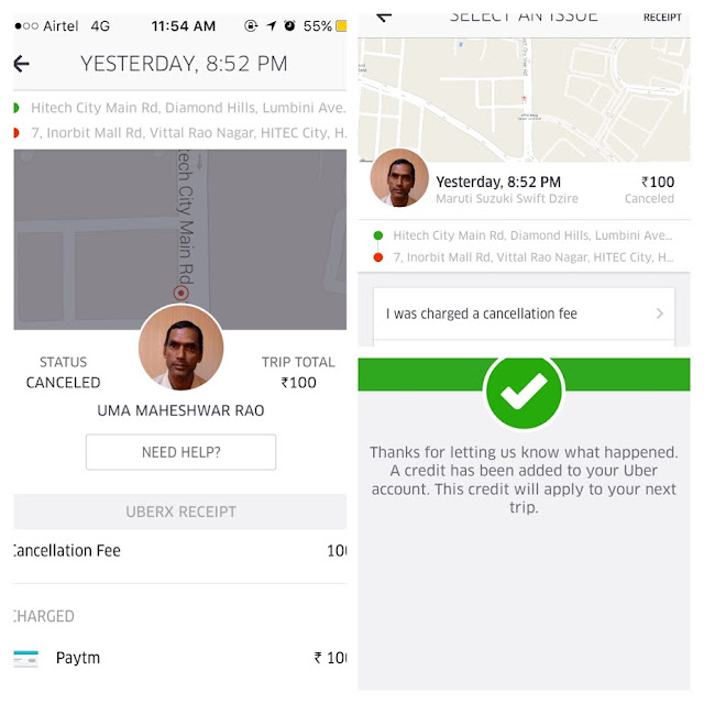 Uber Auto Refunds Ride Cancellation Fee
