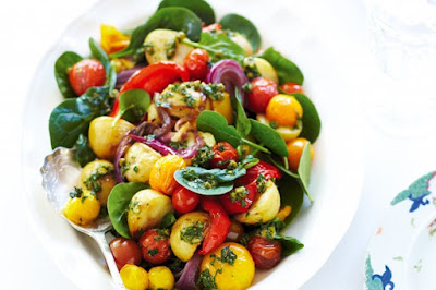 Roasted vegetable salad with caper dressing Recipe
