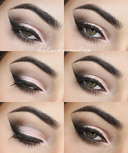 makijaż studniówkowy karnawałowy walentynkowy cut crease różowy smokey smoky eyes