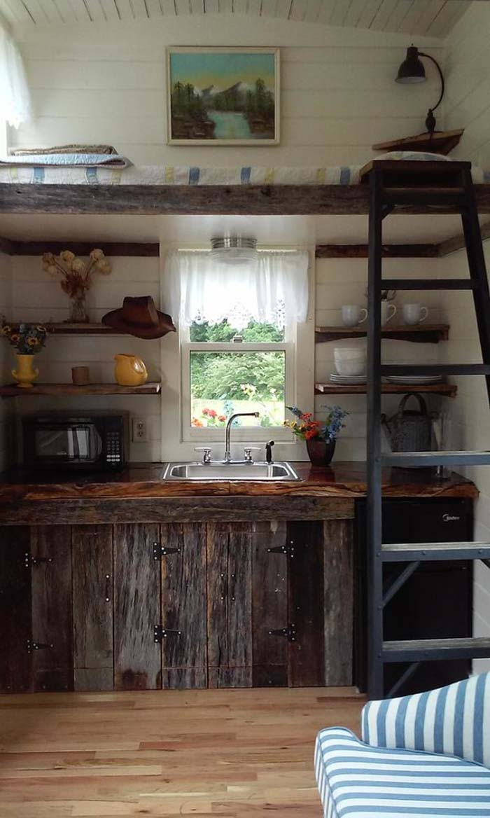 A More Country Style Design With A Rustic Kitchen. Built Using Mostly  Reclaimed Materials, This Mobile Micro Home Also Is Set Up For Wind Power.