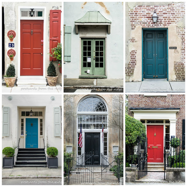 Beautiful front doors in Charleston. Postcards from the Ridge