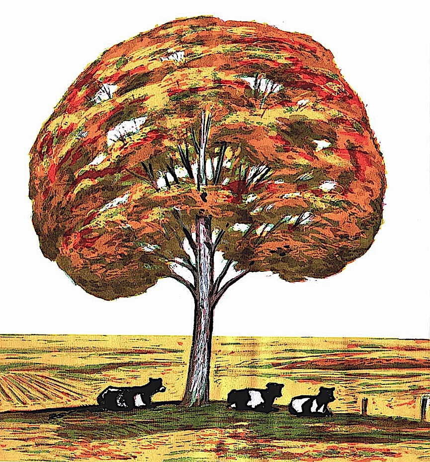 a Richard Gates color book illustration of resting cows under an autumn tree