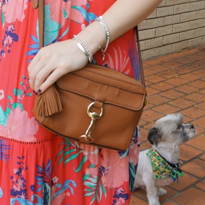 tropical floral print maxi dress and tan rebecca minkoff mab camera bag cross body | away from the blue