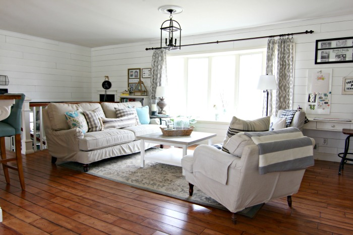 Birch Lane Montgomery sofa in living room with plank walls - www.goldenboysandme.com