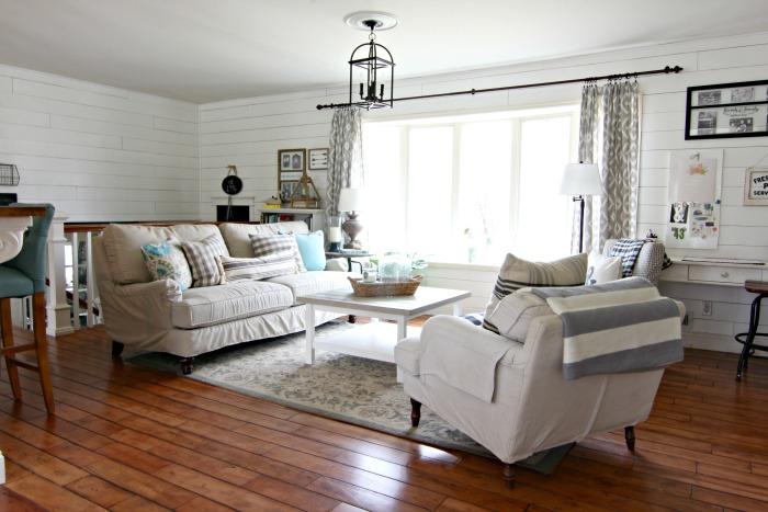 Birch Lane Montgomery sofa in living room with plank walls - www.goldenboysandme.com