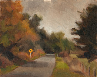 Oil painting of a road with with trees either side and a street sign in the middle distance.