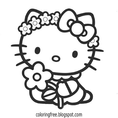 Hippy art flower power Hello kitty coloring illustration free cute printables for teenage youngsters