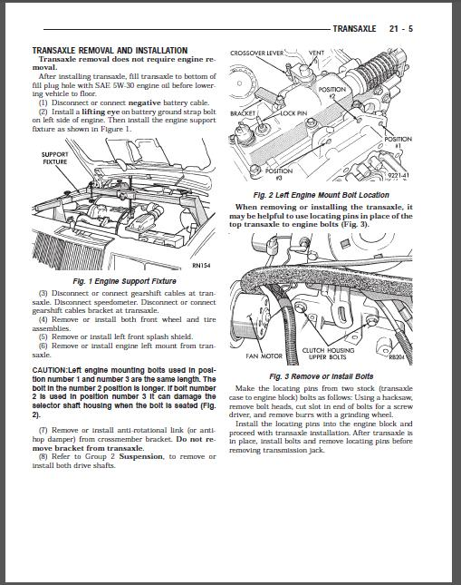 Free Automotive Manuals: CHRYSLER 1993 FRONT WHEEL DRIVE