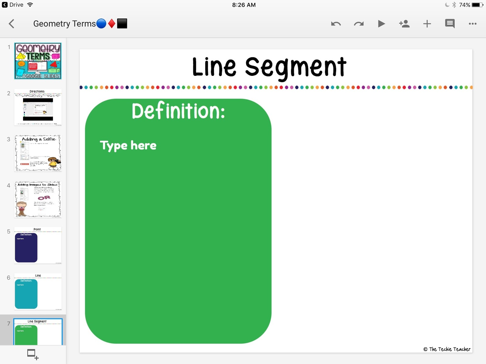 Geometry Activity in Google Slides™ displayed on my iPad
