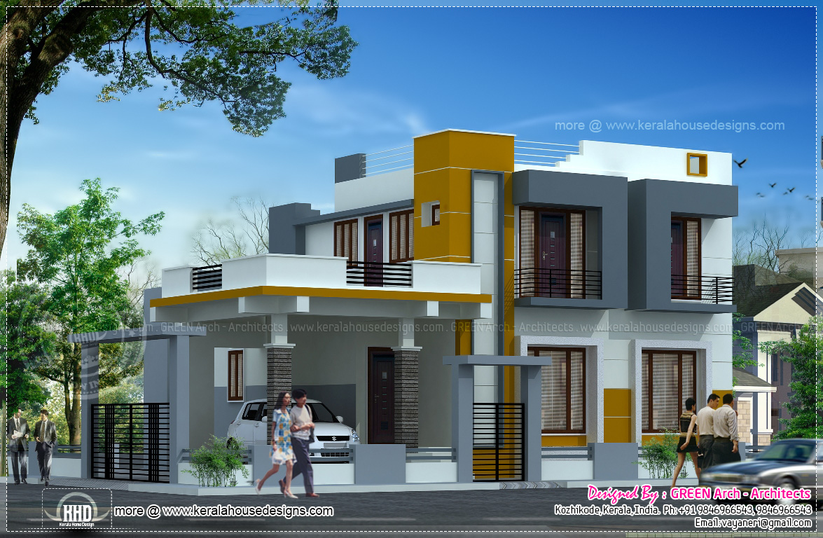 Contemporary 2100 square feet home design kerala home for Square house design