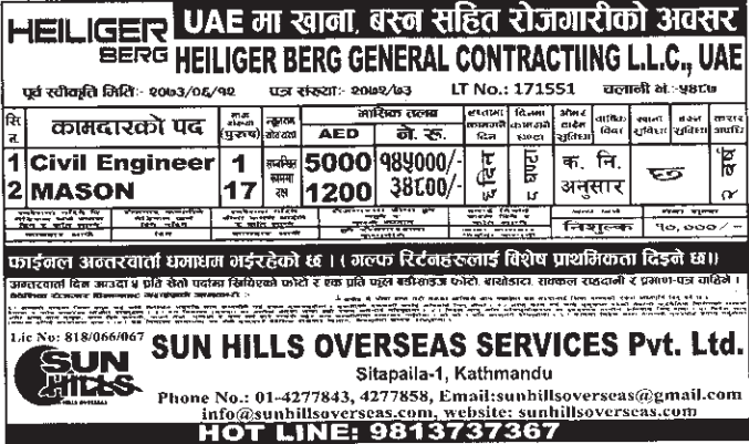 Jobs For Nepali In U.A.E Salary- Rs.1,45,000/