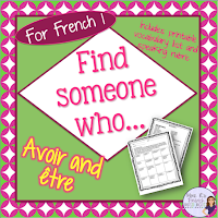 If you need a fun way to reinforce the correct uses avoir and être in the present tense, this Find Someone Who...activity is just what you need.  Includes speaking activity, printable question page you can give as homework or use as a speaking assessment, and French and English speaking rubrics.  Click here to check it out!