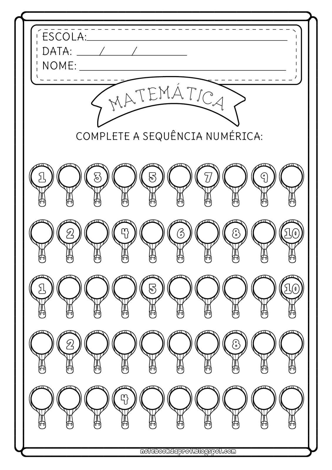 Atividades De Matematica Sequencia Numerica