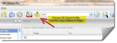 Images shows the location of the Export Button in EML Viewer Pro