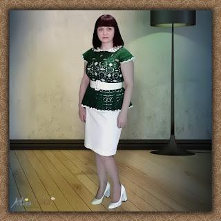 Блуза с баской вязаная крючком Элегия Анна Ру
