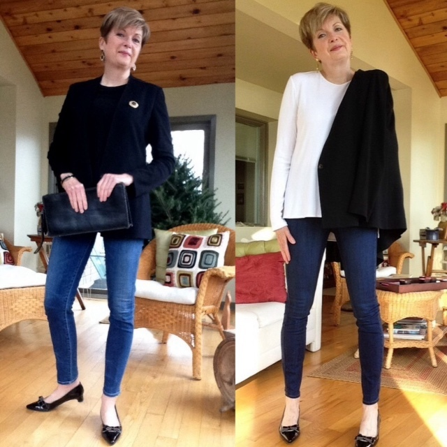 Citizens of Humanity jeans, black silk Rag and Bone tank, Paige high-rise skinny jeans, white long-sleeved Vince tee, Helmut Lang black blazer, Stuart Weitzman low-heeled pumps