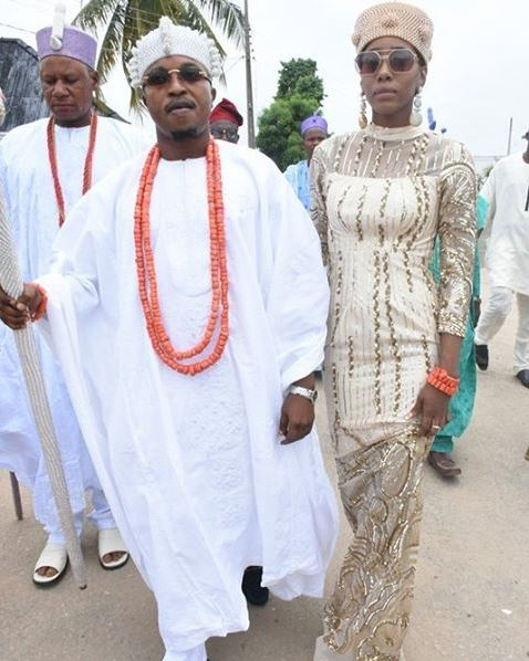 King Abdul Rasheed and Chanel at Ooni of Ife's wedding reception
