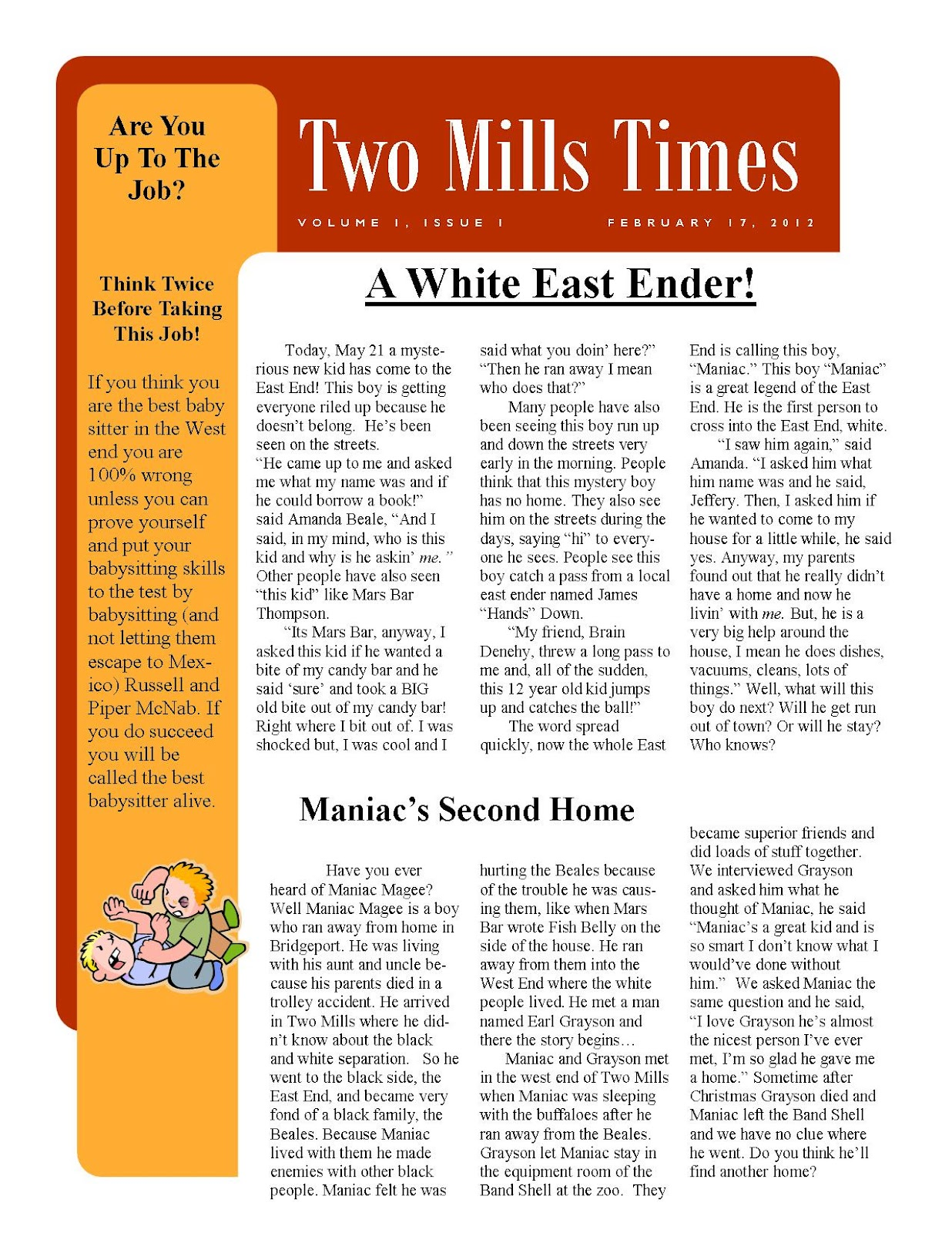 maniac magee essay candy bar maniac magee project more