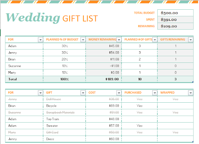 Simple Gift List template in Excel Format