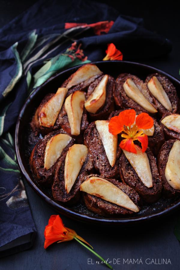 pain perdu de chocolate y peras