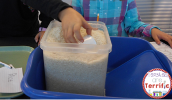 STEM and Math- This challenge is all about determining how volume and the size of containers compare. Students use a scoop to fill containers and then learn a lot about volume!