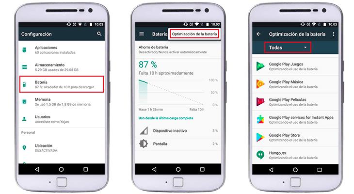 como optimizar la bateria en android