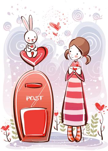 Estampas de San Valentín mail - Vector