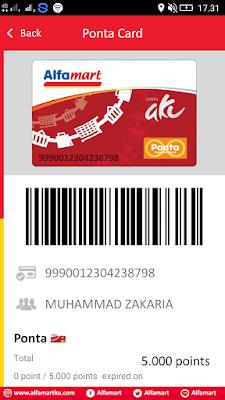 Bukti Virtual  Kartu Member Alfamart dari Hp Android