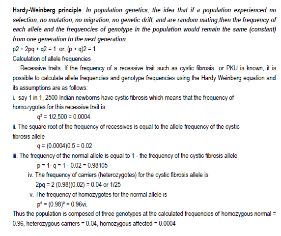 EVOLUTION  notes With HOT Questions,hardy wein berg principle,